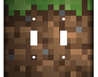 Minecraft Inspired Grass / Dirt Pixel Art Block Decorative Double Toggle Light Switch Cover