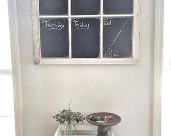Chalkboard Calendar, Weekly Calendar, Chalkboard Window, Old Window