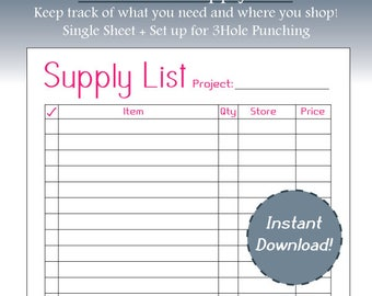 Hot Pink Supply List, Project Budgeting, Simple, Business Planning, Project Planning, Letter Size, Printable, Instant Download