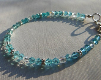 Teal and crystal bracelet. Super sparkly and shiny