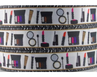"1"" Makeup Theme Ribbon by the Yard   R28"