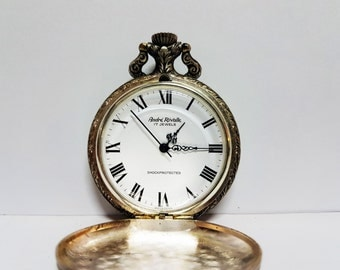 Vintage Andre Rivalle 17 Jewels Pocket Watch Fisherman Shockprotected Swiss Made - Working Condition