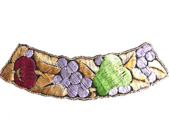 Fruit Trim Applique, 1930s embroidered applique. Vintage patch, sewing supply. #649GC8K1