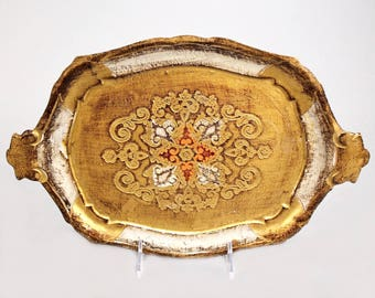 Italian Hand-Painted and Gilded Florentine Tray [5692.A]