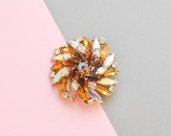 60s brooch, floral brooch, iridescent brooch, flower brooch, iridescent pin