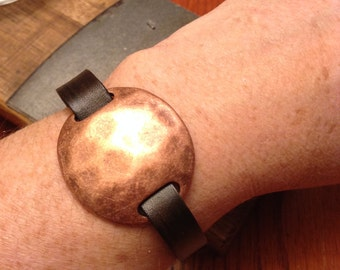 Copper Leather Bracelet;  Leather Cuff;  Leather Wristband;  With Copper Slider - Gift for her