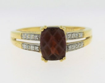 Cushion Cut Garnet Diamond Ring - 14k Yellow Gold Gemstone Jewelry