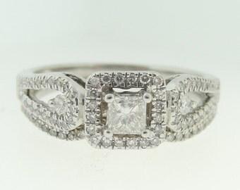 Princess Cut Diamond Halo Engagement Ring-10k White Gold