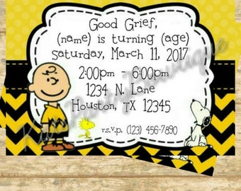 Charlie Brown and Snoopy Personalized Birthday Invitation