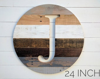 Single Letter Monogram, Letter Cutout, Reclaimed Wood Round Circle, Personalized Gift