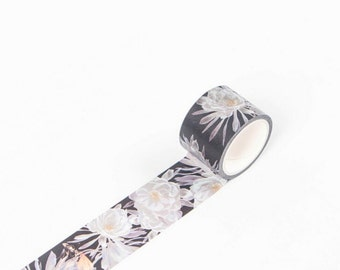 White Flowers Dark Japanese Washi Tape, Masking Tape, Planner Stickers, Decorative Stickers - WT348