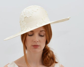 Ivory Cream Wedding Wide Brim Hat with Lace