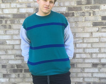 1 DOLLAR SHIPPING // Blue and Teal Striped Crewneck with Pockets