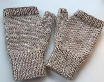 Hand knitted warm, snug fingerless mitts - size S/M
