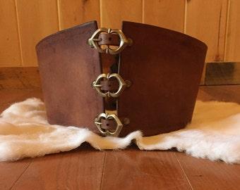 Buckled Brown Leather Waist Cincher / Corset Belt