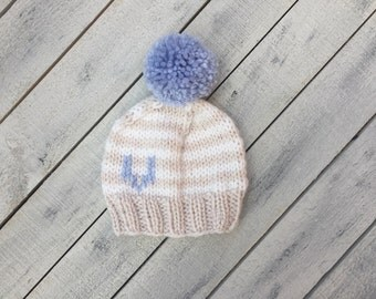 Striped Baby Hat, Personalized Baby Gift, Monogram Knit Baby Beanie, Initial Infant Winter Hat, Coming Home Outfit, Newborn Announcement Hat