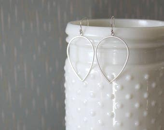 PAIGE - Simple Matte Silver Reverse Teardrop, Sterling Silver Earwire, Dangle Earrings