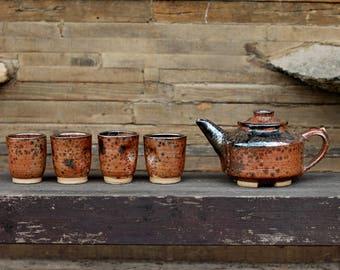 Tea Set, Ceramic Teapot, Ceramic Tea Set, Japan Teapot, Japan Pottery, Pottery tea set, Handmade StonewareTeapot, Japan tea cups set, teapot