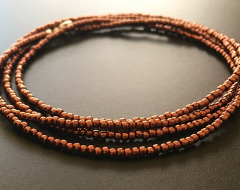 Copper Seed Bead Necklace, Long Copper Seed Bead Necklace, Seed Bead Necklace, Layering Necklace, Necklace, Beaded Necklace, SarahEBankston