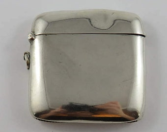 Sterling Silver Square Match Holding Case with English Hallmarks