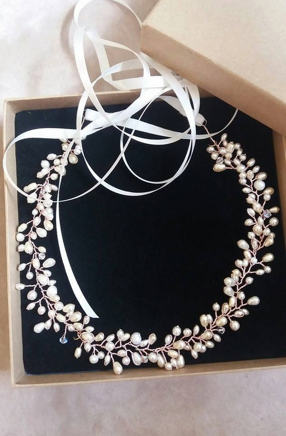 Rose Gold Pearl and Crystal Bridal Hair Wreath