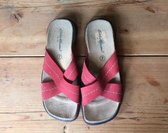 Vintage Sandals // Red Sandals Eddie Bauer Sandals Made in Spain