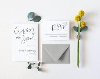 Simple Monochrome Wedding Invitation & RSVP