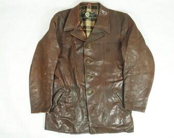 Vintage 50's Distressed Worn Look Swedish Goatskin Brown Leather Car Coat 40R