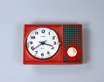 Vintage Europe watch, wall clock, kitchen timer, ceramic watch, red petrol, 60's 70's Germany
