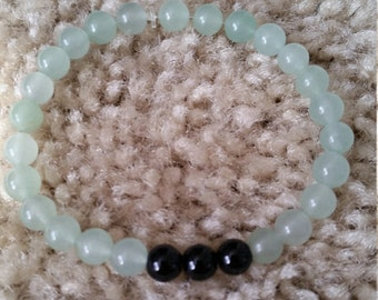 Green Aventurine and Black Onyx Bracelet - Healing Crystal Spiritual Gemstone