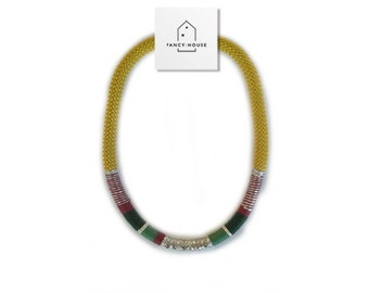 Necklace string yellow mustard