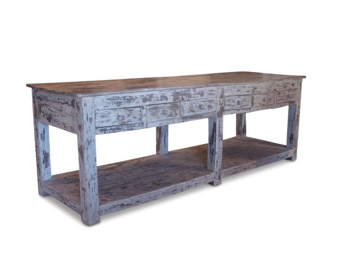Distressed Wood Table W/ 12 Drawers