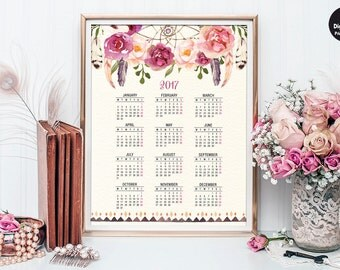 Printable Boho 2017 Calendar. Bohemian Calendar 12 Month Yearly Planner. Christmas Gift for Her. Watercolor Flowers Wall Art Poster. FLO13