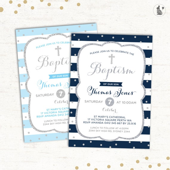 Navy Blue and Silver Baptism Invitation Baby Blue Boy Christening