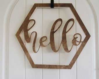 Wood Hexagon Hello Wreath For The Door or Wall