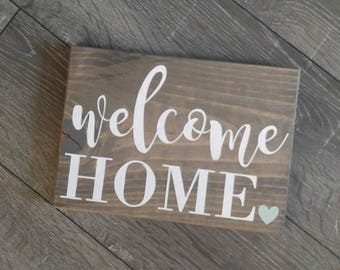 "Welcome Home Rustic wooden sign 11"" x 7"" wall hanging / Heart / housewarming gift / new house / front door sign"
