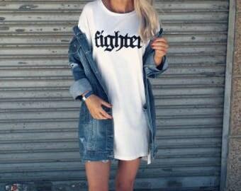 Fighter Oversized T Shirt Dress Long Line Top Fashion Slogans STP456
