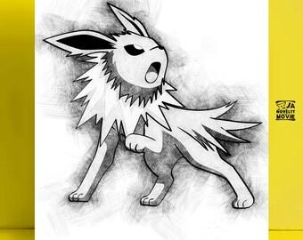 Jolteon 2 pencil drawing pokemon, Sketch Pokemon, 8x10 inches