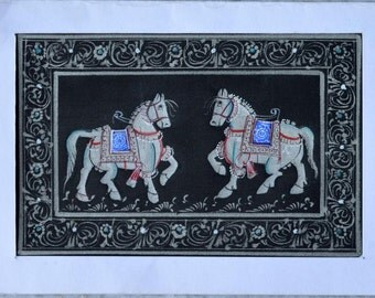 Miniature Rajasthan Silk Painting Horse-silver- gold- blue- Choose ANY 1