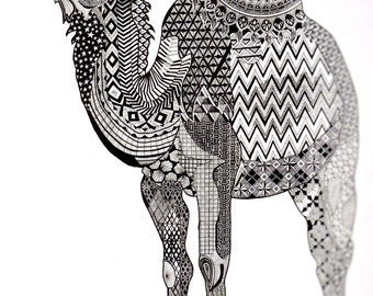 DROMEDARY (neat black ink illustration of animal with patterns and mandala, print)