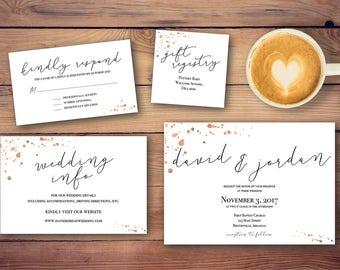 Rose Gold Splatter - Wedding Invitation Suite