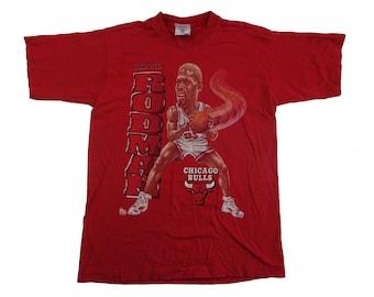 Vintage 90s Dennis Rodman Chicago Bulls Tee - Vintage NBA 90s Bulls The Worm Tshirt - S/M