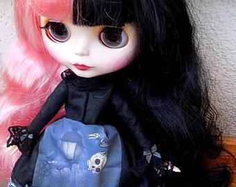 Lolita harajuku black witch print - dress for Blythe custom doll