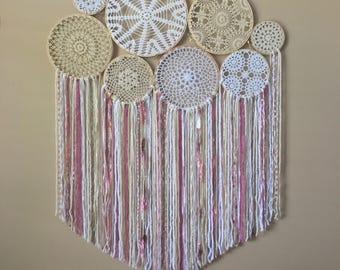 Nursery Wall Decor, Large Crochet Dream Catcher Wall Hanging, Doily Dream Catcher, Boho Nursery Decor, Baby Shower Gift, Crochet Wall Art