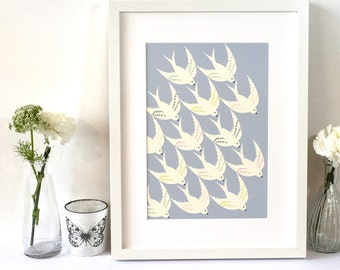 Bird illustration art print / For the bird lover / Gift for her / Mothers day gift