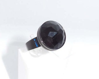 Ring faceted black Tourmaline