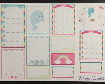 Inspirational Unicorn Narwhals Planner Sticker Set