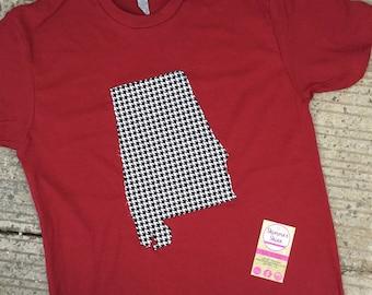 Alabama Short Sleeve State Shirt, AL houndstooth state shirt