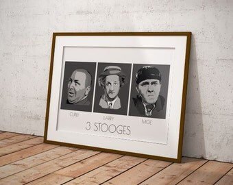 Three Stooges art print.3 Stooges poster. Larry, Moe, Curly print, Three Stooges poster, Movie Wall art