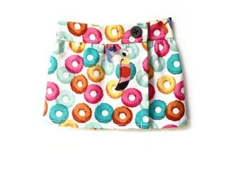 Wrap Mini Skirt, Froot Loop, Beige, Pink, Orange, Blue, Spring, Summer, Fits dolls such as American Girl, 18 inch Doll Clothes